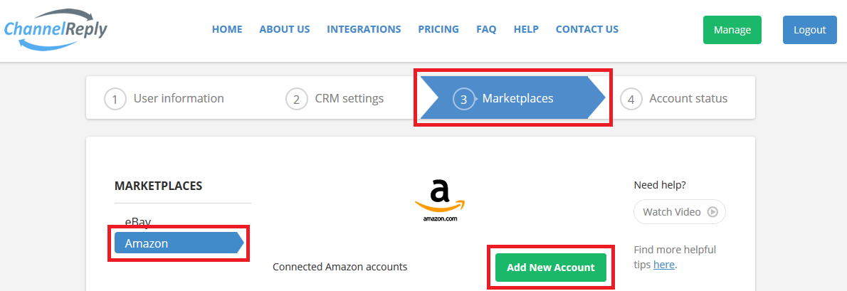 Add More Amazon Accounts to ChannelReply