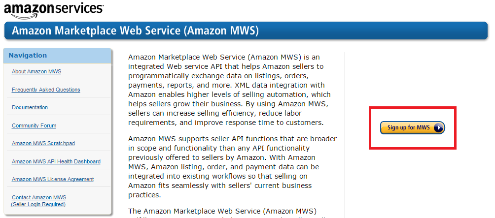 Sign Up for Amazon MWS