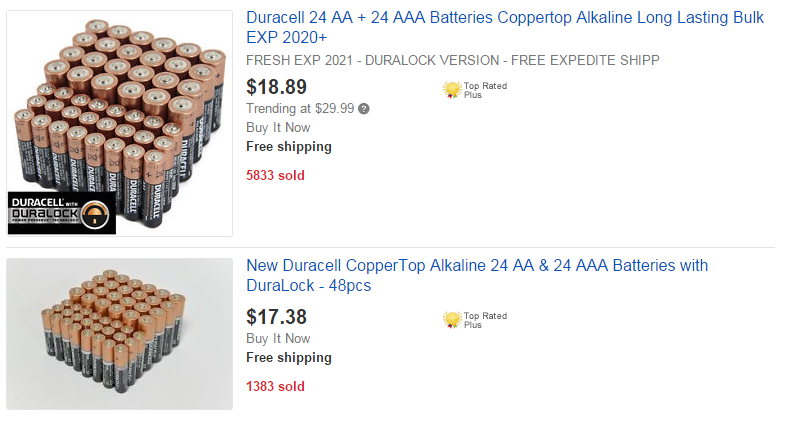 Batteries for Sale on eBay