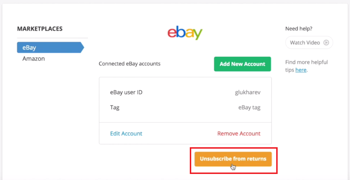 Unsubscribe from eBay Returns
