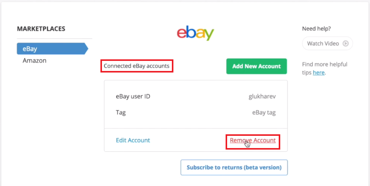 Remove eBay Account