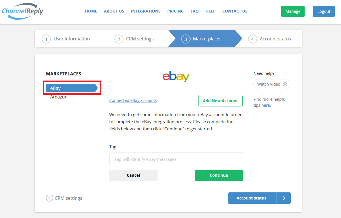 Connect eBay to ChannelReply