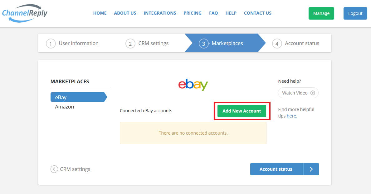 Add New eBay Account to ChannelReply