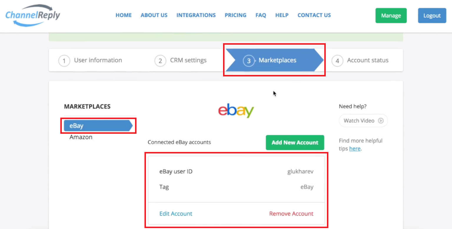 eBay Account Details in ChannelReply