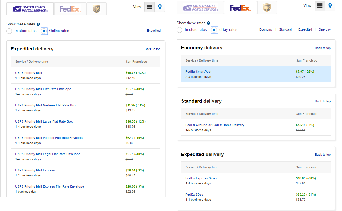 eBay Shipping Calculator: USPS vs. FedEx