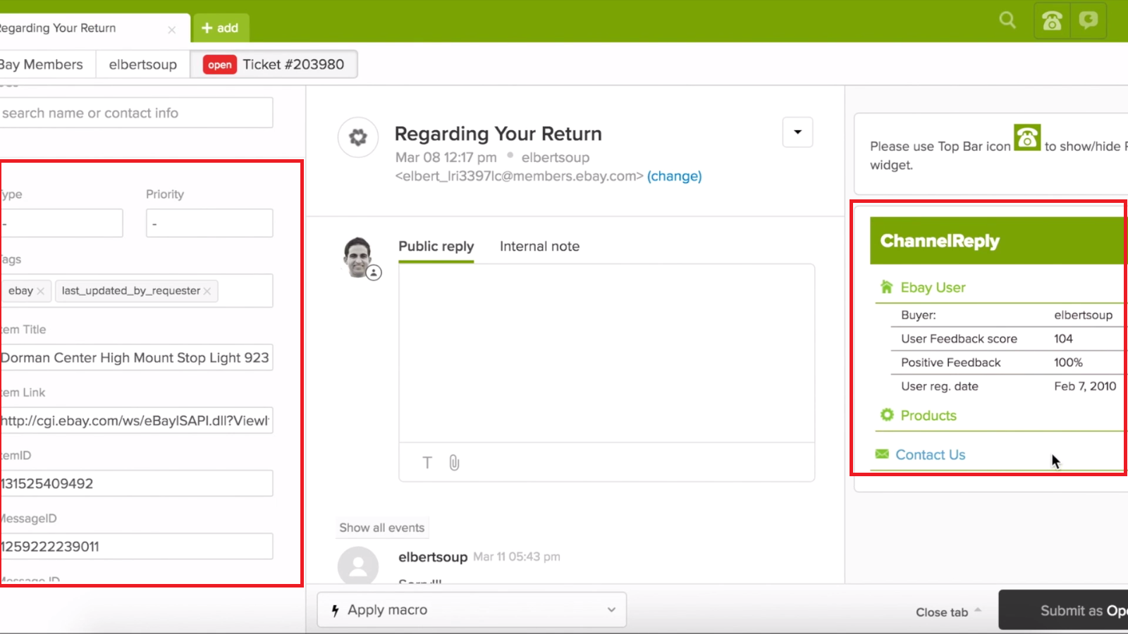eBay Message in Zendesk with ChannelReply
