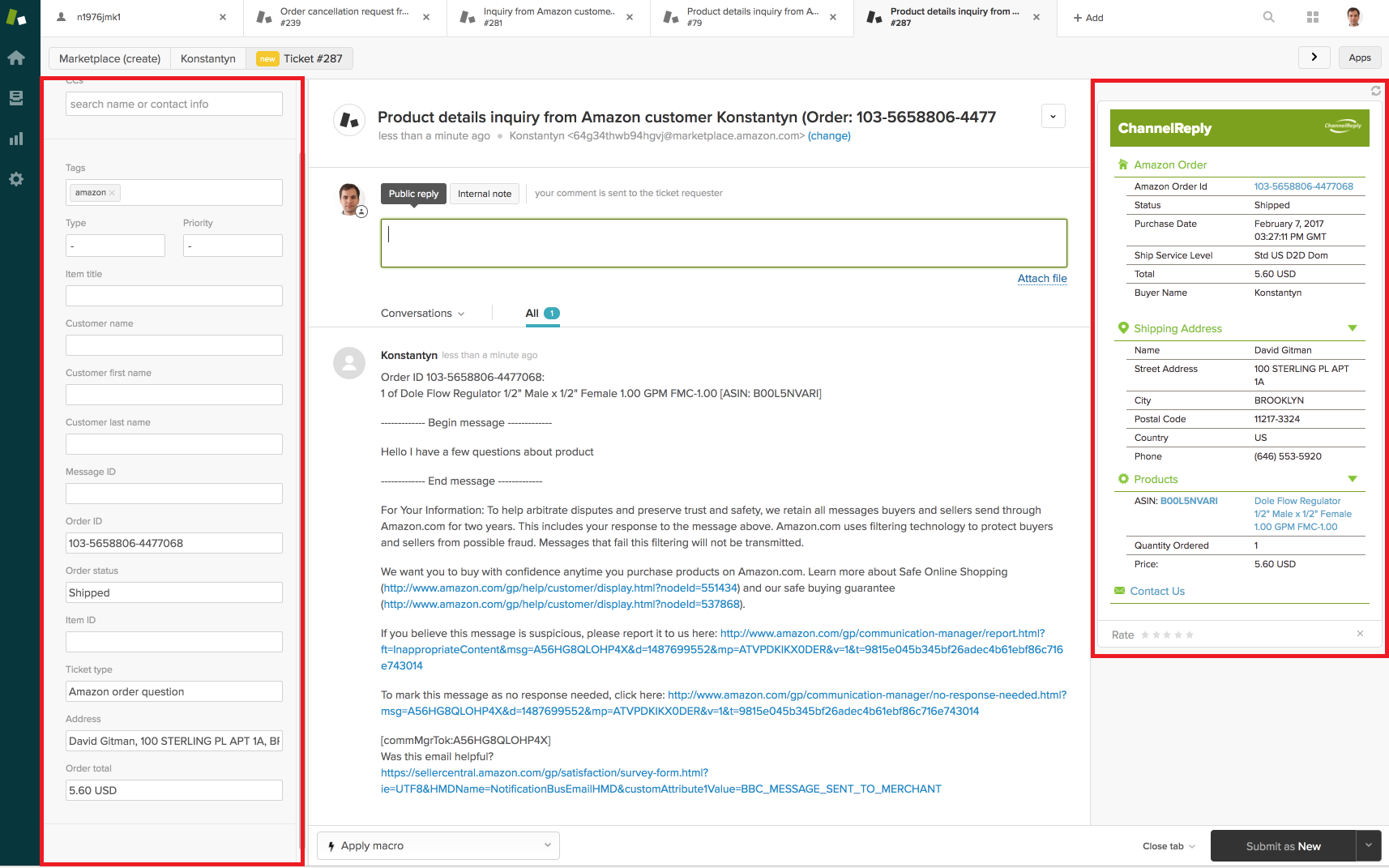Amazon Message in Zendesk with ChannelReply