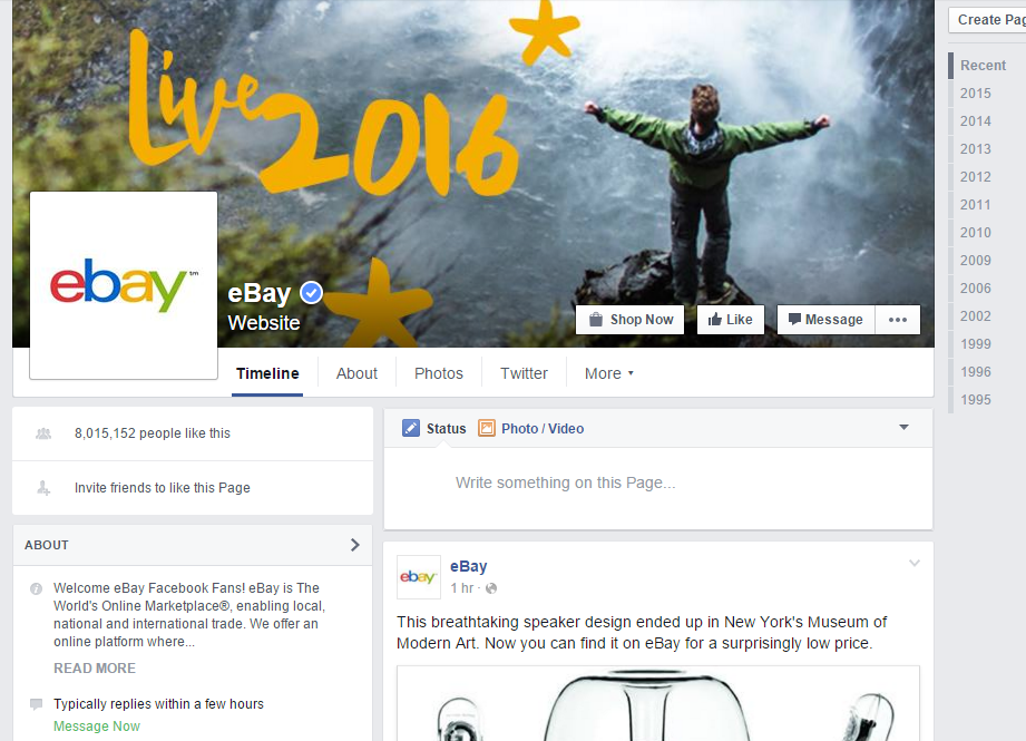 eBay's Facebook Account