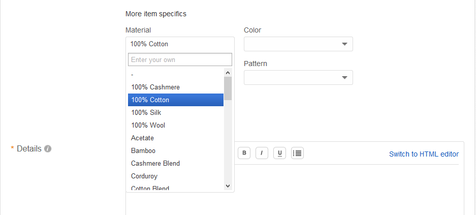 Selecting 100% Cotton in eBay Item Specifics